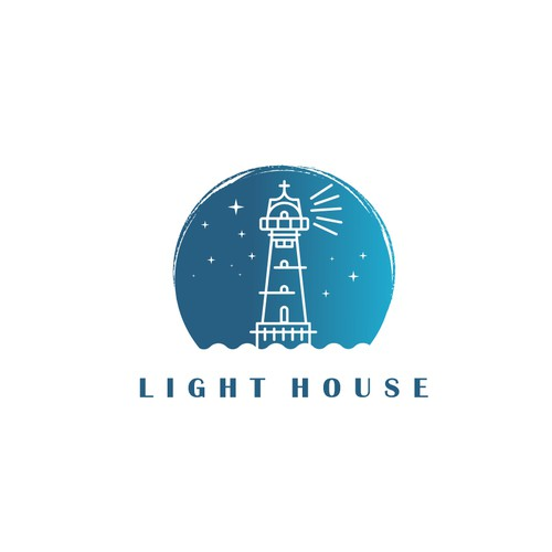 Romantic lighthouse logo