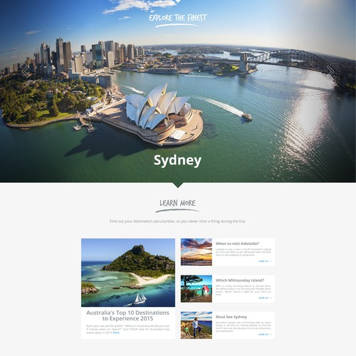 Modern and image-rich landing page for australian activities website