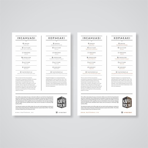 KaffeBox design their new Specialty Coffee Info Card!