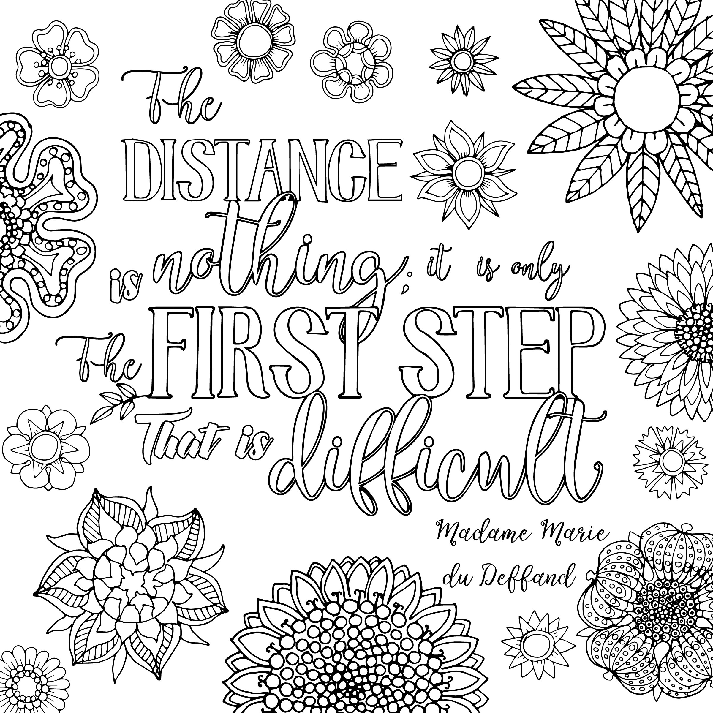 """Create 8x8"""" Hand Lettered Coloring Poster Page"""