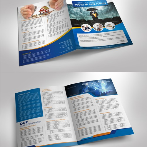 Create a corporate brochure for a dynamic commercial insurance broker