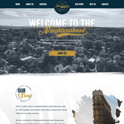 Homepage design for the Communications Agency