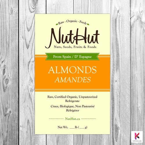 Packaging Label Design for NutHut Organics Canada