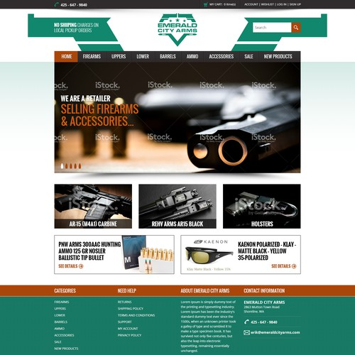 Clean, crisp e-commerce site for firearms and accessories retail