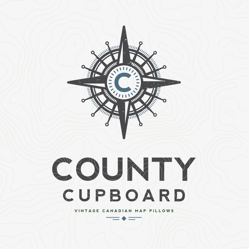Create a new logo for County Cupboard and our vintage map pillow company.