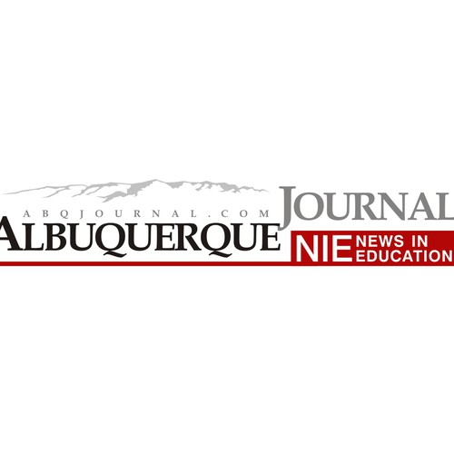 Logo for Multi-Media Albuquerque Journal News In Education program with technology and educational elements