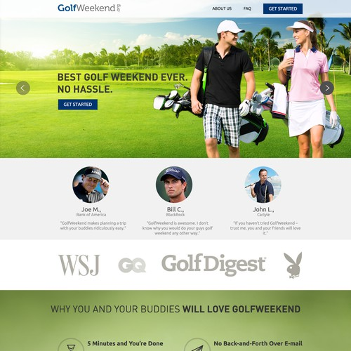 GolfWeekend one-page website design