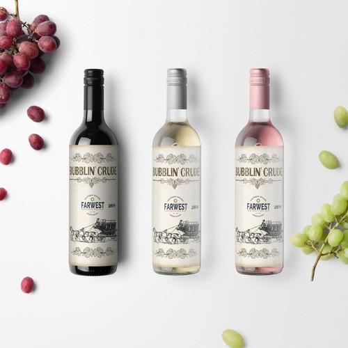 Propuesta de etiqueta vintage para vino tinto