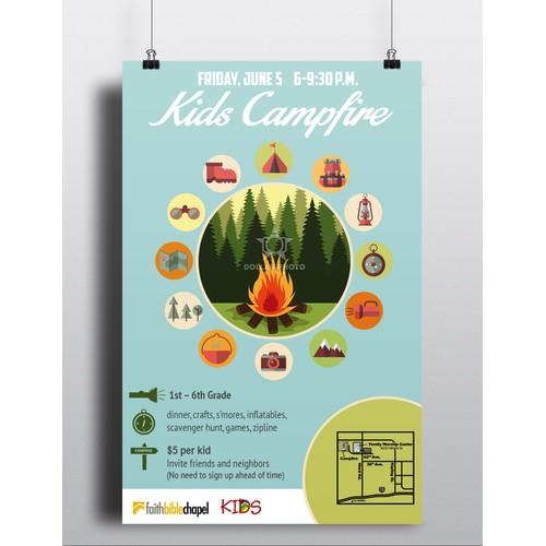 Kids Campfire Poster