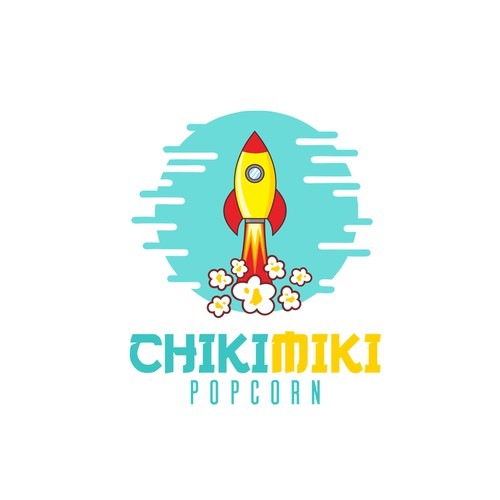 concept design for chikimiki pop corn, i made a rocket illustration with moon background and popcorn smoke