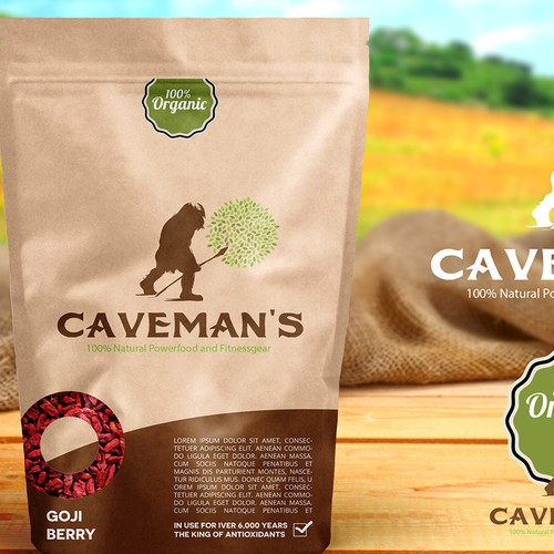 Caveman's Organic Powernutrition and Fitnessgear is searching for a good Design