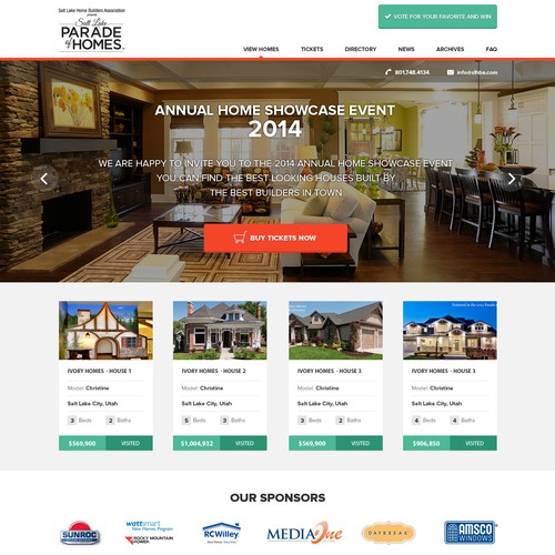 Design the website for a new home showcase event
