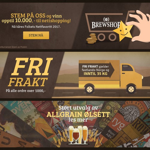 Banner designs for www.BrewShop.no