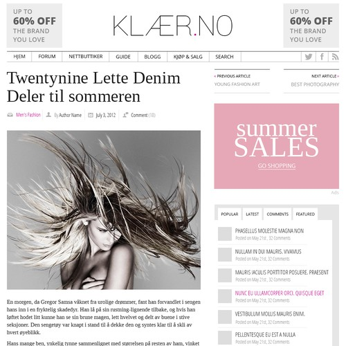 "Fashion website redesign (Klær.no ""clothes/apparel.com"")"