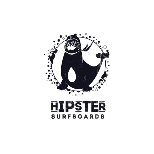 Logo for hipster surfboard company