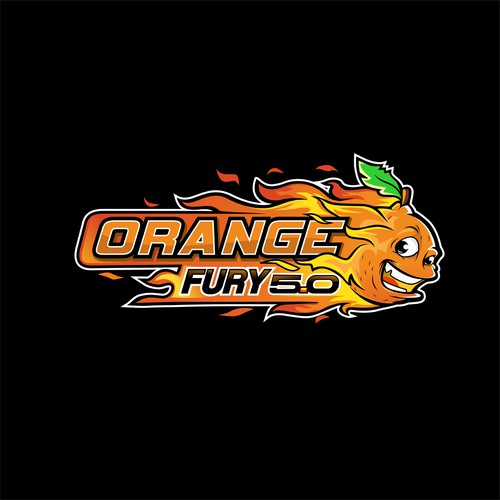 cartoon, bold, orange, fire logo