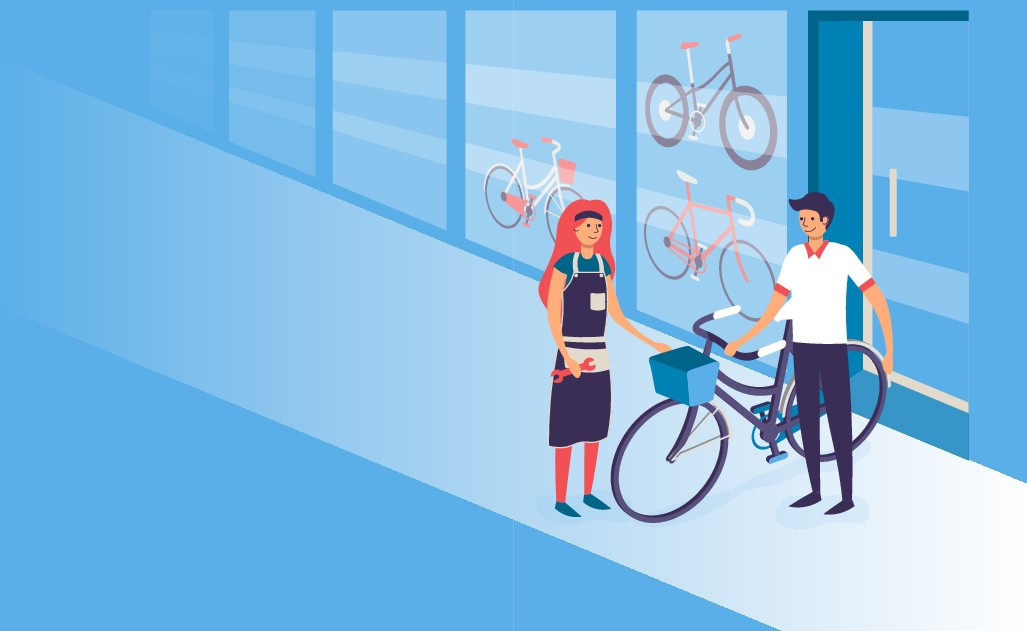 create a fun & friendly illustration for bike shop software company