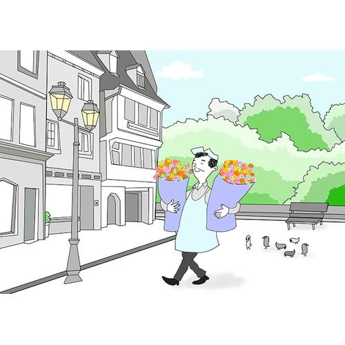 Illustration of a flower man delivering flowers