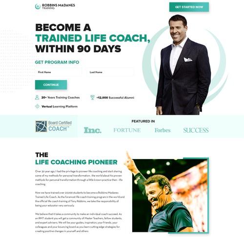 Landing page design for Coach/Speaker
