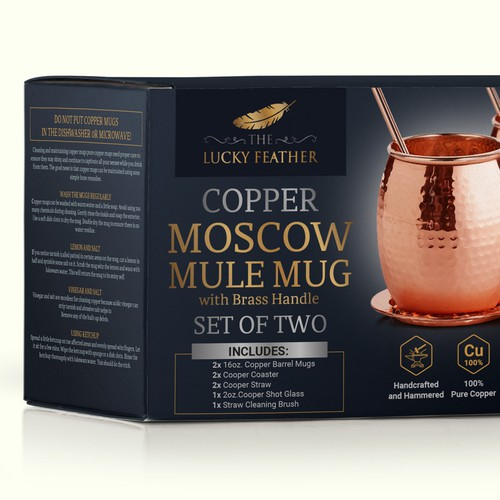 Design of packaging for copper mugs.