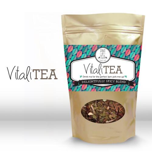 label package for organic herbal blend - vitaliTEA
