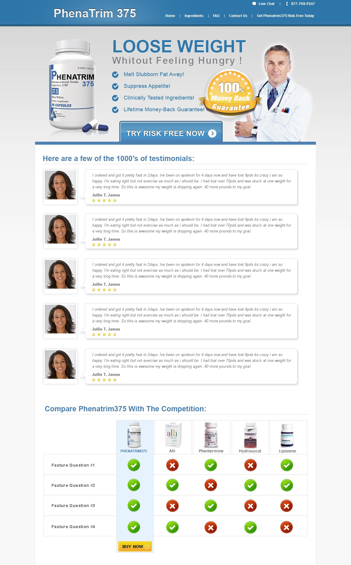 website design for PhenaTrim375