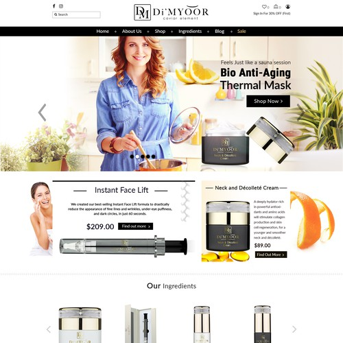 HomePage For Skin Care Brand