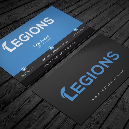 cards and stubbie holder for startup company Legions
