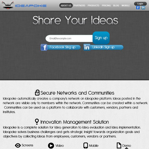 Create the next website design for Ideapoke