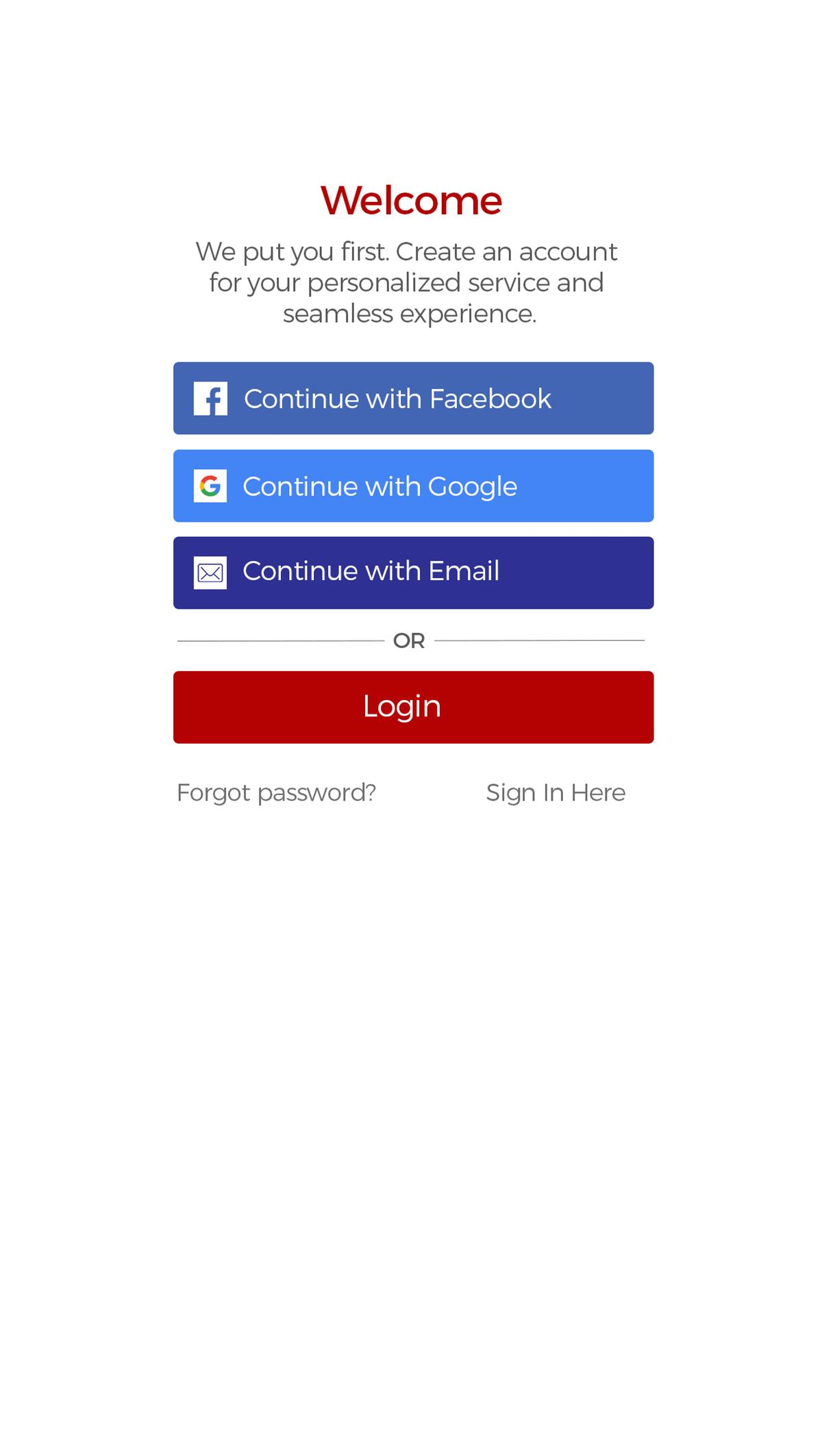 "New ""Create an account"" pop up box"