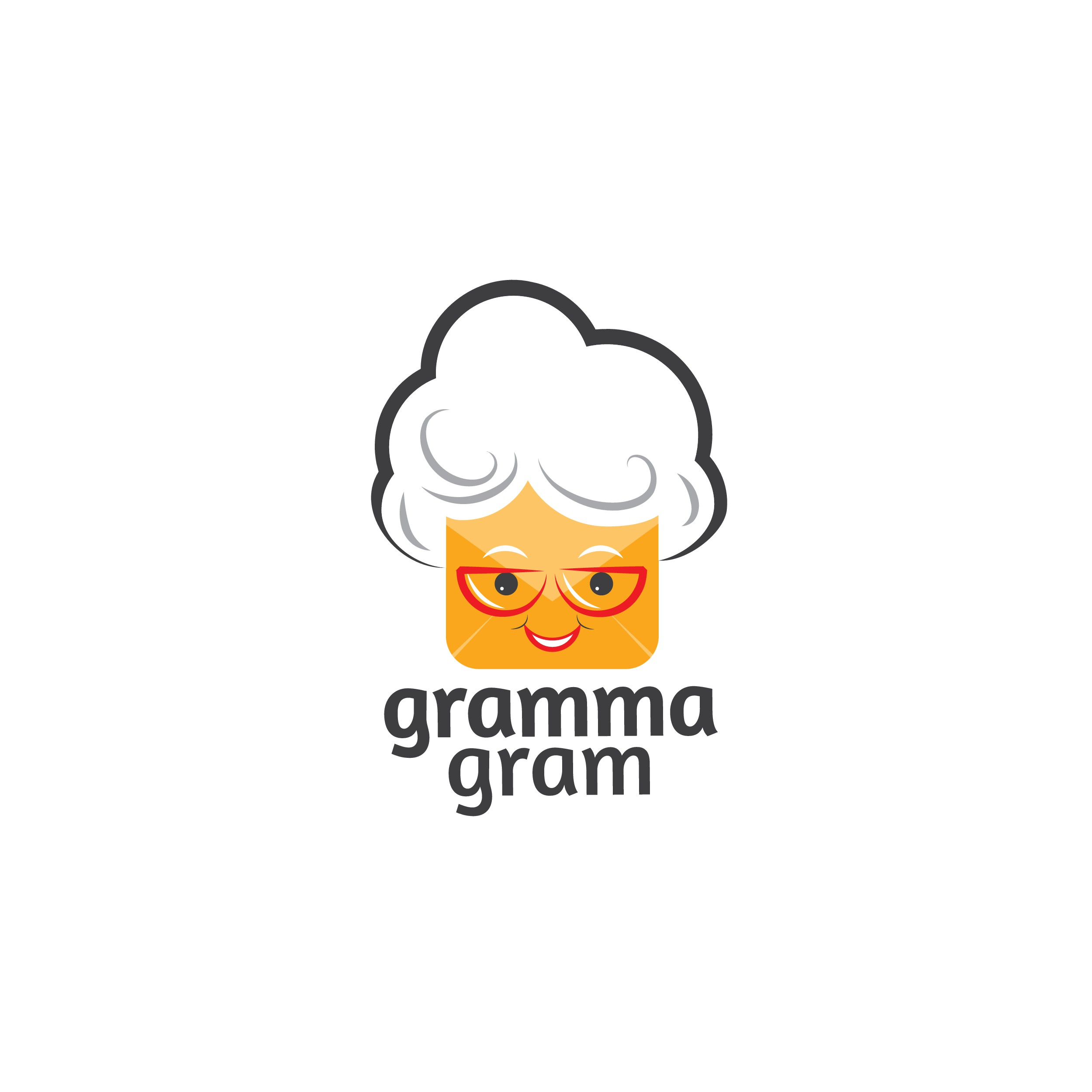 Craft a humorous, flat logo for startup, Gramma Gram - Mail isn't dead, and neither is Gramma