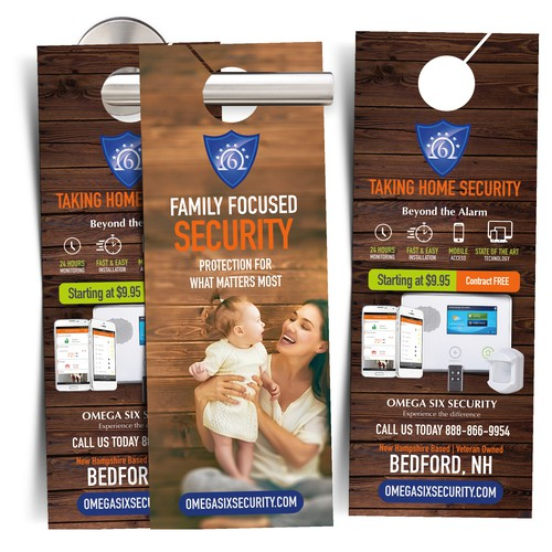 Design a Door Hanger for Omega Six Security