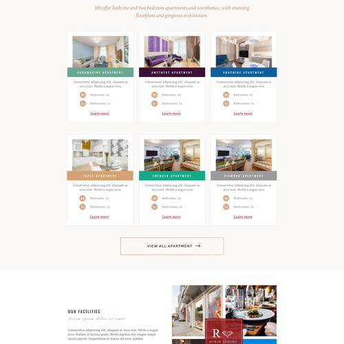 Homepage for luxury apartment