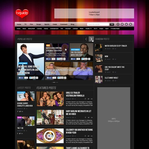 Create a new blog design for TVguide.co.uk
