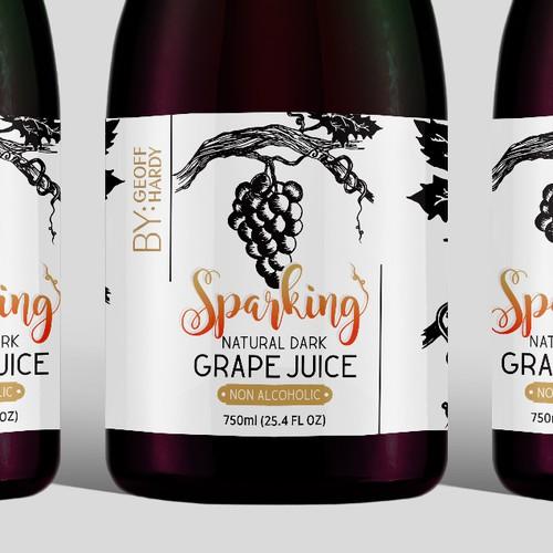 Label for Sparking Natural Dark Grape Juice
