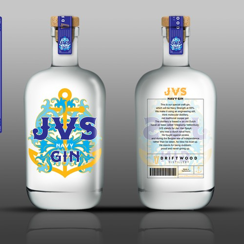 Simple, luxury and bold bottle label for JVS Navy Gin, Netherland