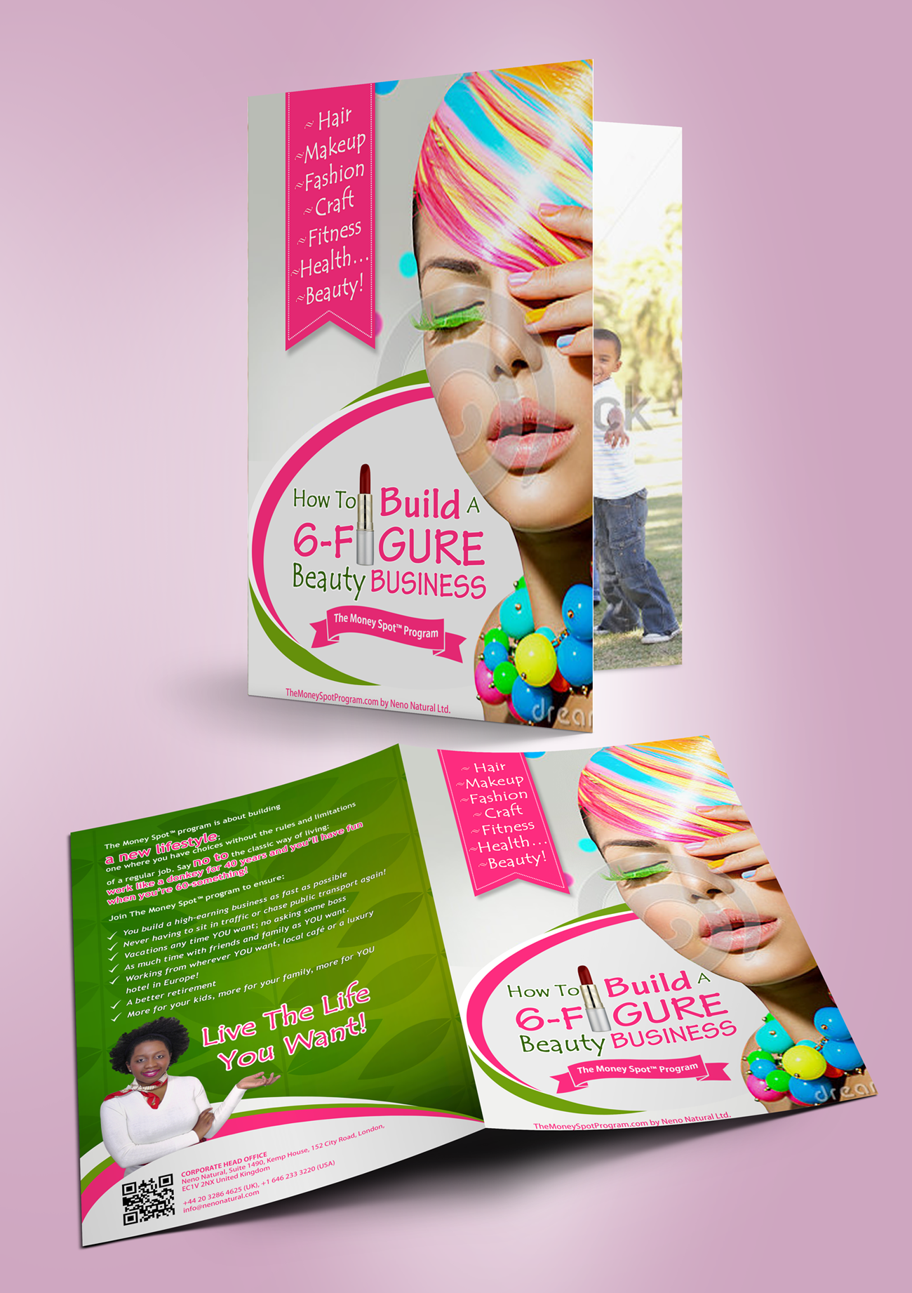 Create a clean, stylish brochure for NEW Coaching Program targeted at women!