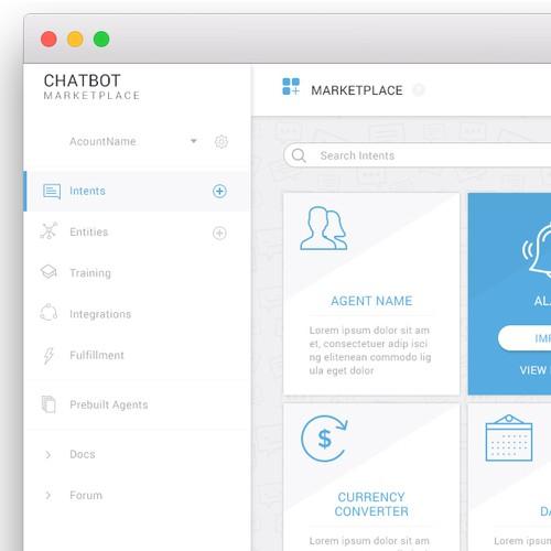 App design for chatbot marketplace