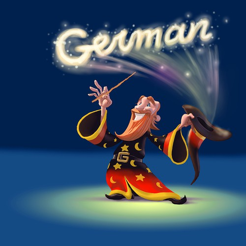 "Create the MASCOT of the ""German-Wizard"" and delight thousands oflearners of German!"
