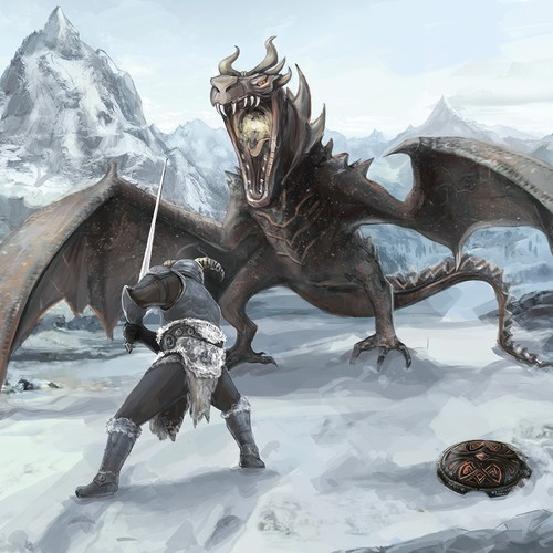 Sketch. Fantasy. Dragon and warrior.