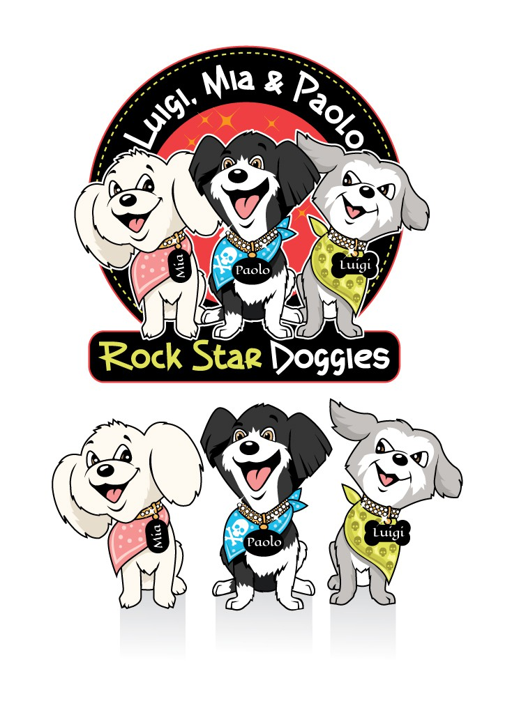 Create illustrated characters of Luigi, Mia & Paolo Rock Star Doggies for children's book.