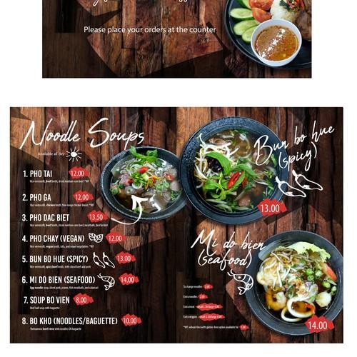 Modern café menu
