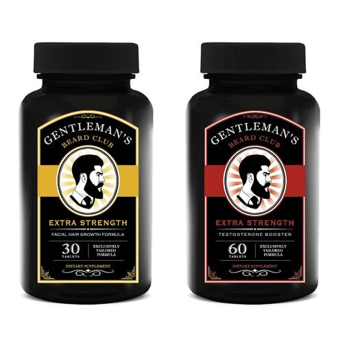 Logo & Supplement Label Design - Gentleman's Beard Club
