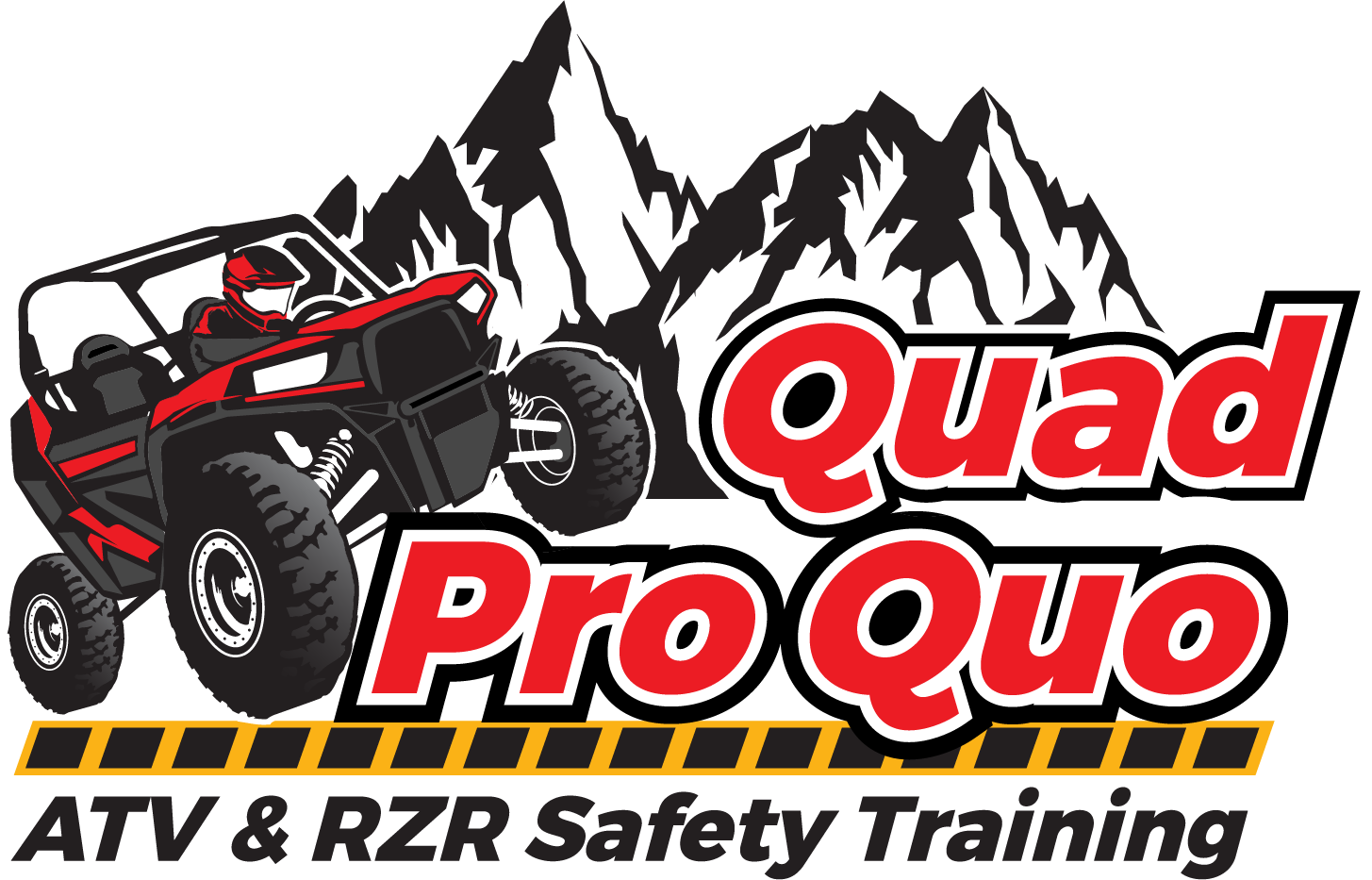 A logo showing a RZR or ATV climbing over the name, plus a safety element.  The name of the business is Quad-Pro-Quo