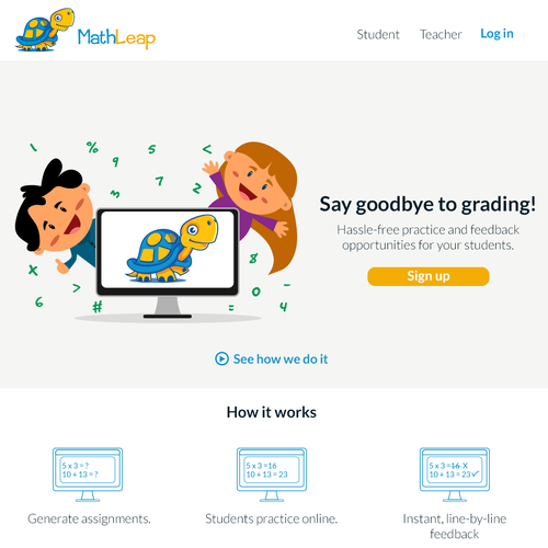 Landing page for teachers