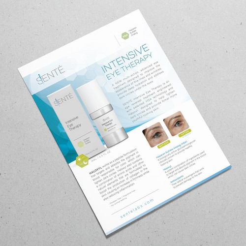 Clean and Elegant Flyer Design for Sente's New Eye Cream