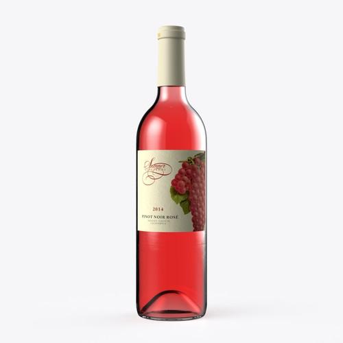 Eye Catching Label Design for Sumner Vineyards Rose' Wine