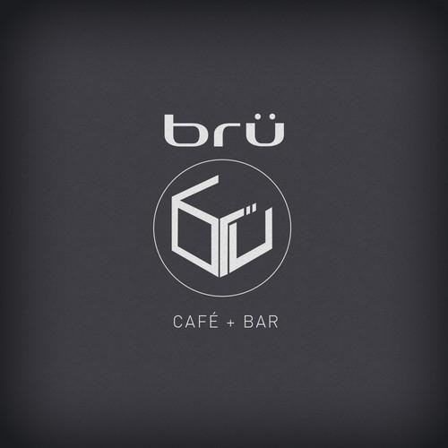logo concept for brü bar + café