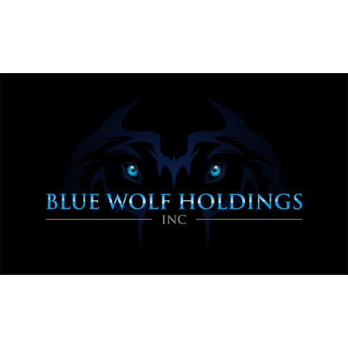 Logo design for blue wolf holding