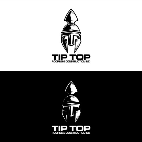 spartan helmet logo with T initials for TIP TOP